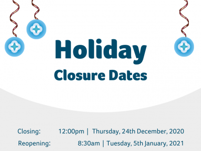 Holiday Closure Dates